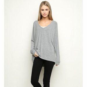 Brandy Melville Grey V Neck Oversized Sweater